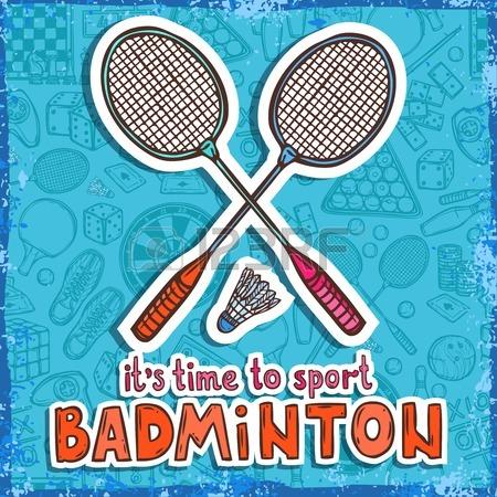 34737194-badminton-raquette-et-affiche-de-croquis-volant-avec-sport-et-jeux-de-societe-sur-fond-illustration